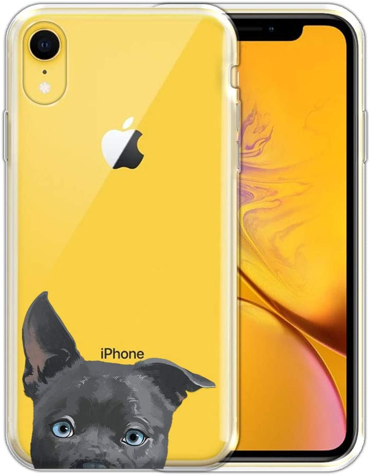 FINCIBO Case Compatible with Apple iPhone XR 6.1 inch, Clear Transparent TPU Silicone Protector Case Cover Soft Gel Skin for iPhone XR - Silver American Pit Bull Puppy Dog