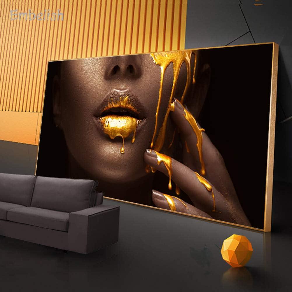 HJGYFTDEOUEmbellezca 1 Unidades de Grandes Cuadros de Arte de Pared para Sala de Estar Cara de Mujer con líquido Dorado Decoración para el hogar Carteles Pinturas de Lienzo de Alta definición