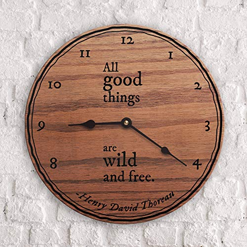 12 Inch Wood Clock, Travel Quotes Gift for Travelers Overseas Gift Explore All Good Things are Wild and Free Quote Henry David Thoreau Quote Clock Only Wall Clock (David Nail Looking For A Good Time)