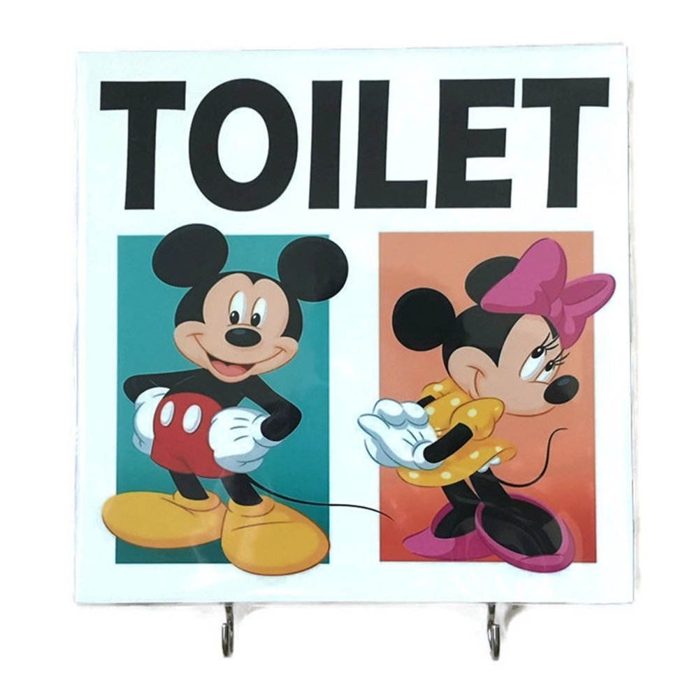 Agility Bathroom Wall Hanger Hat Bag Key Adhesive Wood 2 Hooks Vintage Mickey Mouse & Minnie Mouse Toilet's Photo