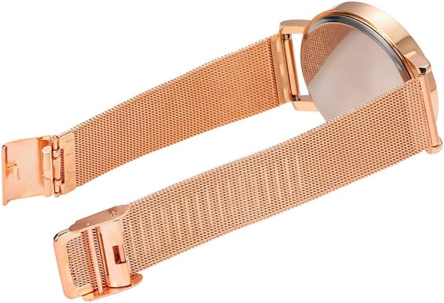 RONSHIN Women Watches Fashion Chic Large Dial Steel Watchband Calendar Quartz Watches Black Belt Rose Gold Frame Gifts for Girlfriend Girl