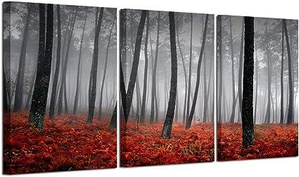 Orange Grey Waterfall Wall Art Canvas White Landscape Forrest Split Picture