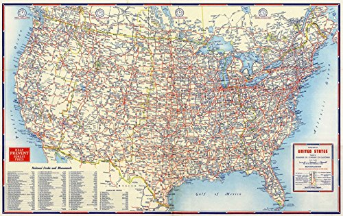 Historic Map | Pocket Map | 1956 Road Map of United States | Historical Antique Vintage Decor Poster Wall Art | 24in x 16in ()