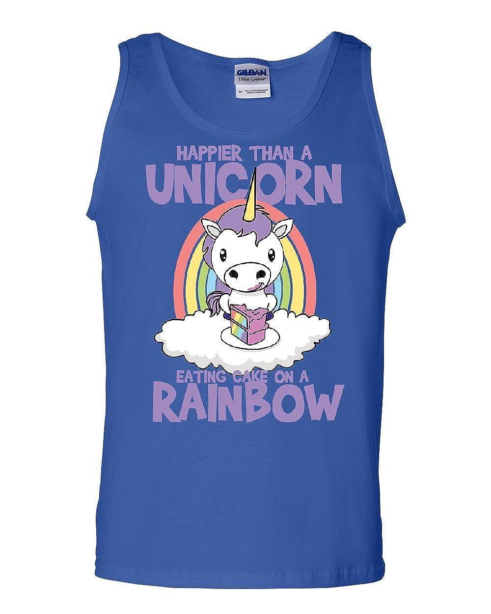 Tee Hunt Unicorn Eating Sweet Rainbow Cake Tank Top Stars Fantasy Magic Sleeveless