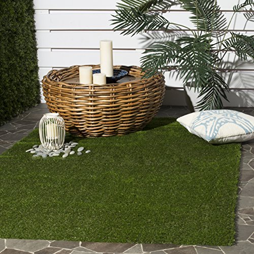 Safavieh Vista Shag Collection VST100A Verdant Green Indoor/Outdoor Faux Grass Area Rug (5' x 7' 6