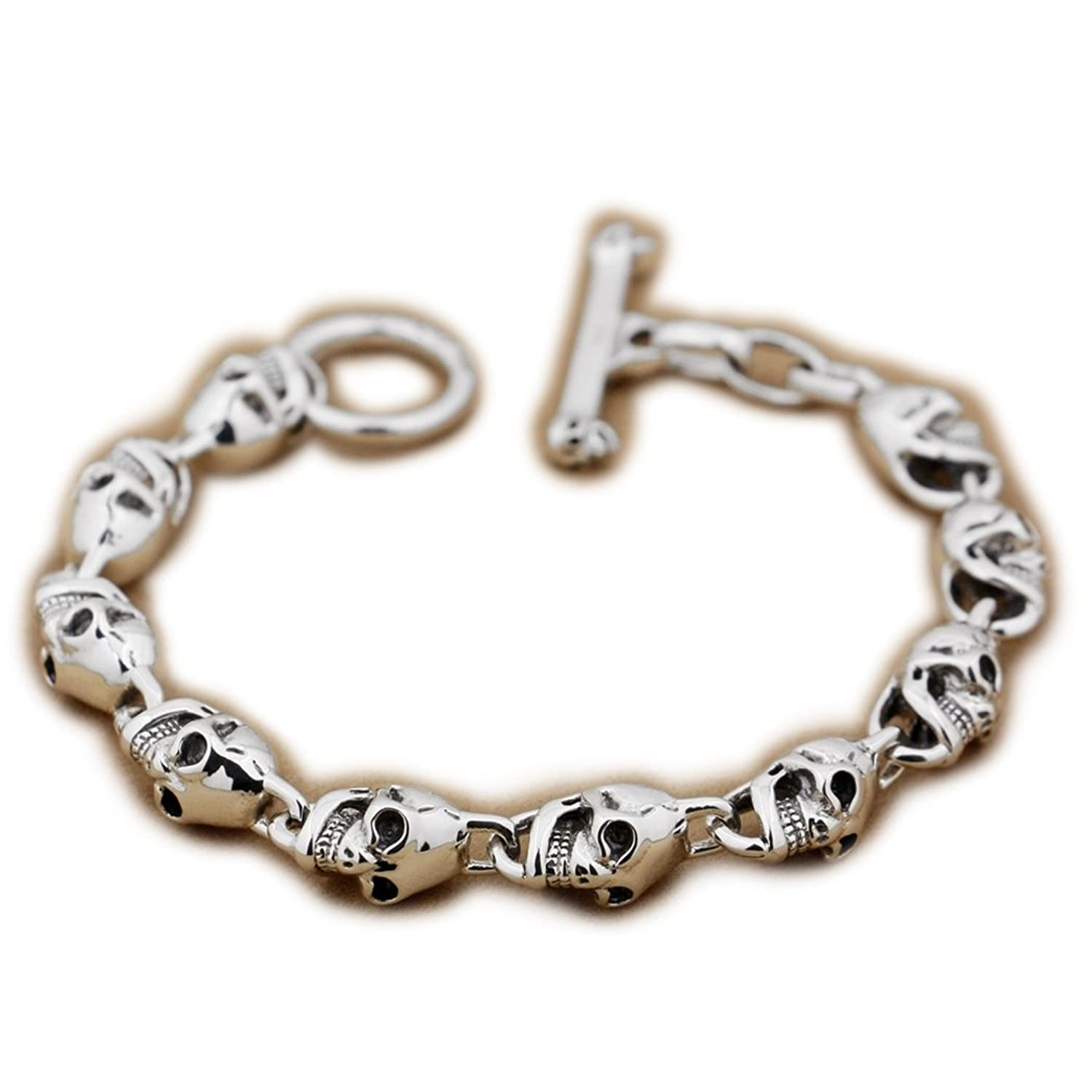 6 Lengths 925 Sterling Silver Skulls Mens Biker Punk Bracelet 8W004