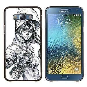 "Be-Star Único Patrón Plástico Duro Fundas Cover Cubre Hard Case Cover Para Samsung Galaxy E7 / SM-E700 ( Graffiti Tatuaje del cráneo del zombi aerosol de la muchacha"" )"