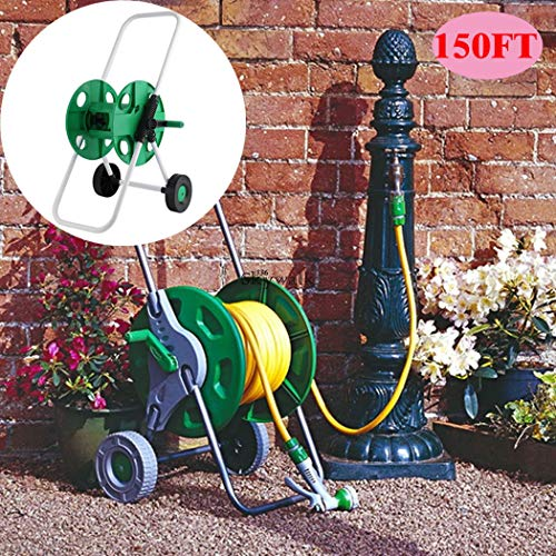 J&T Hose Reel Mobile Rolling Cart Storage Holder Outdoor Garden Water Pipe, 150 ft. by J&T Jordan (Image #2)