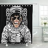 "Emvency Fabric Shower Curtain Curtains with Hooks Astronaut of Funny Chimpanzee in Astronauts Suit Smoking Cigar Monkey Comic Cosmonaut Space Chimp Helmet 72""X96"" Waterproof Decorative Bathroom"