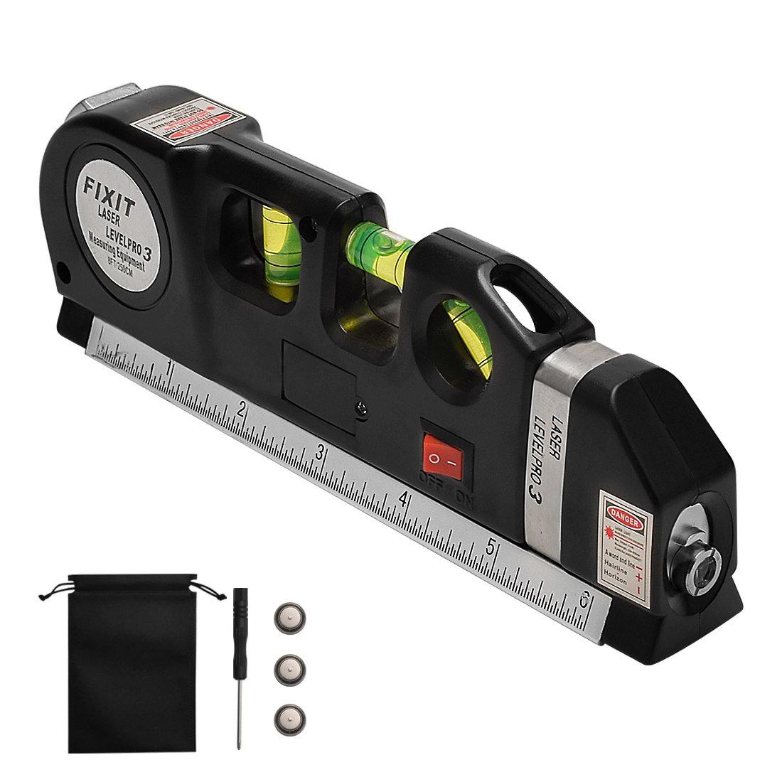 Laser Tape Rulers CarBoss Multipurpose Laser Level laser measure Line 8 FT 2.5M Measure Tape Ruler Adjusted Standard and Metric Rulers Tools Best Professional Craftsman Self Leveling Laser leveler