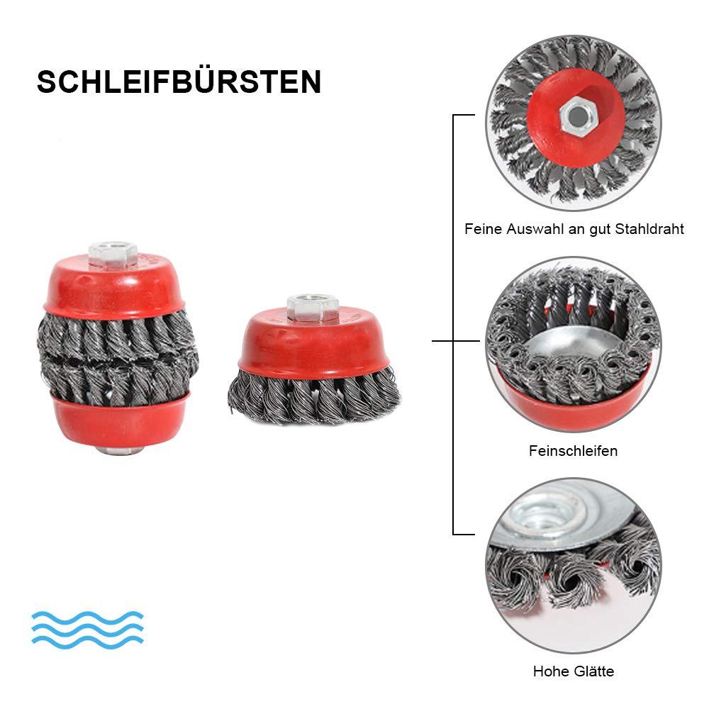 Topfb/ürste Stahl gezopfter Draht /Ø 75 mm M14 Schleifb/ürsten Drahtb/ürste Kegelb/ürste