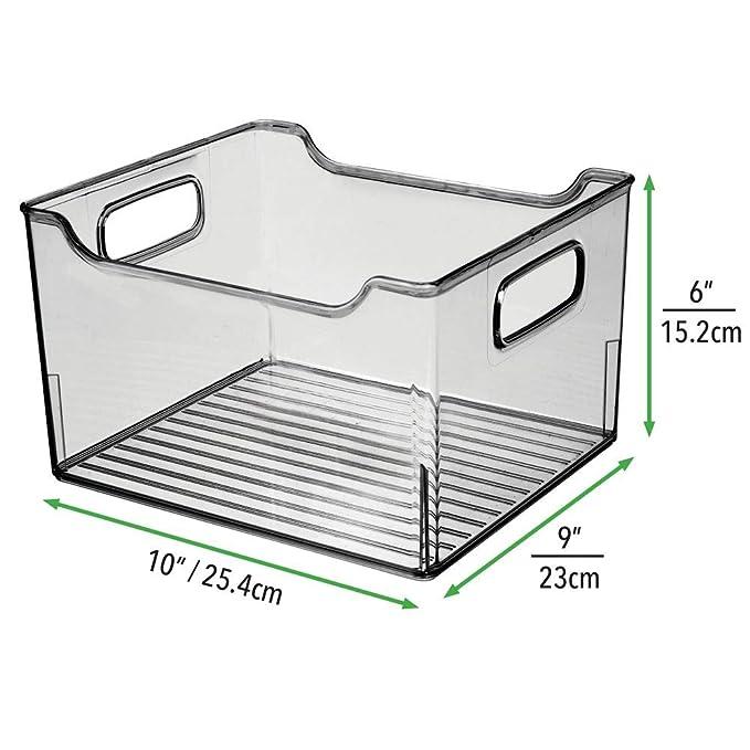 mDesign Juego de 4 cajas para nevera con asas - Organizador de ...
