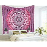 Indian Mandala Tapestry Hippie Hippy Wall Hanging Throw Bedspread Dorm Tapestry Ombre Mandala Tapestries, Sofa Cover, Beach Blanket, 54x86 Inch.