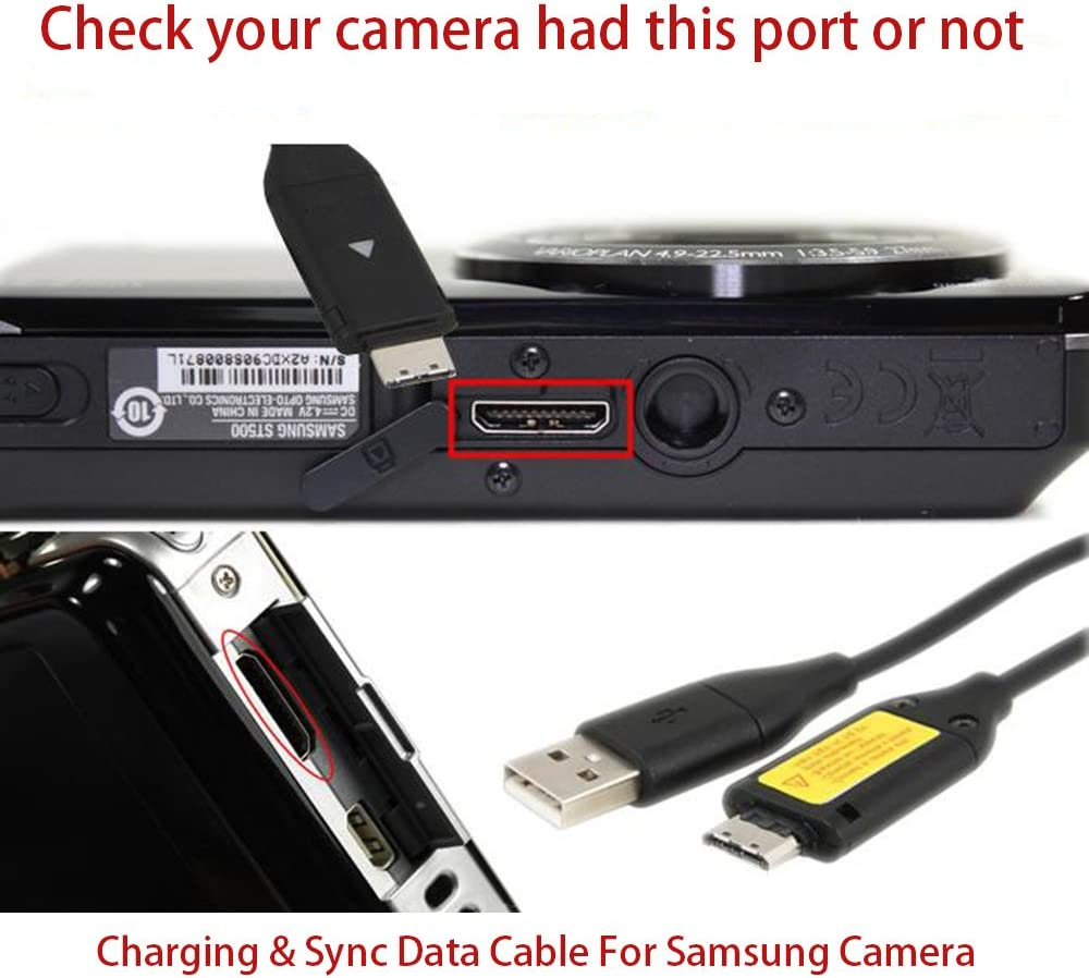 ST600 PL170 PL200 Camera Data Sync /& Charging Cable USB Charger Cord SUC-C3 Compatible Samsung Digimax Cameras PL100,PL20 ST500 ST5500,WB500 and More ST5000 ST700