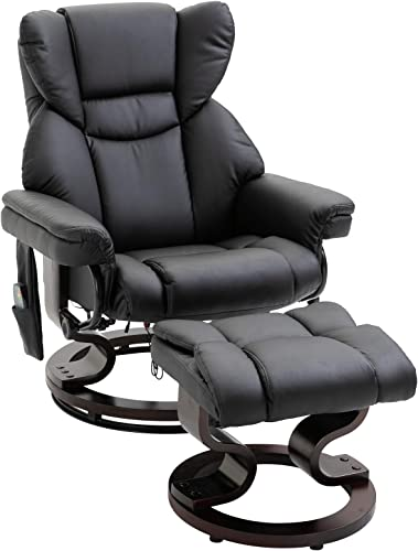 HOMCOM Massage Recliner Chair with Footrest, 10 Vibration Levels, Faux Leather, Black