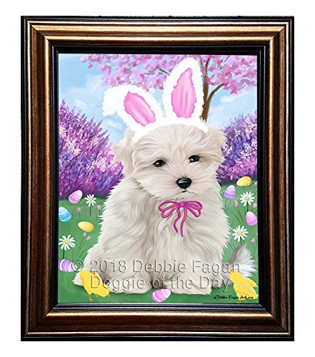 Doggie of the Day Maltese Dog Easter Holiday Framed Canvas Wall