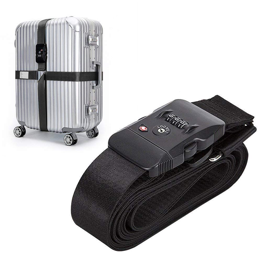 TSA Travel Luggage Strap with Approved Lock,Adjustable Suitcase Belt Black by LC-dolida by LC-dolida