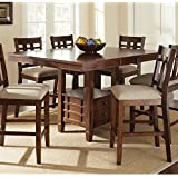 Steve Silver Company Bolton Counter Height Dining Table with Butterfly Leaf in Dark Oak