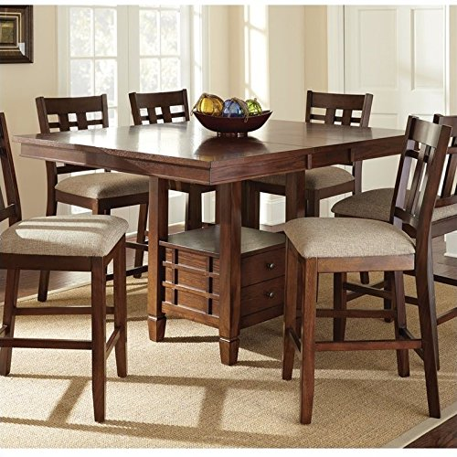 (Steve Silver Company Bolton Counter Height Dining Table with Butterfly Leaf in Dark Oak)
