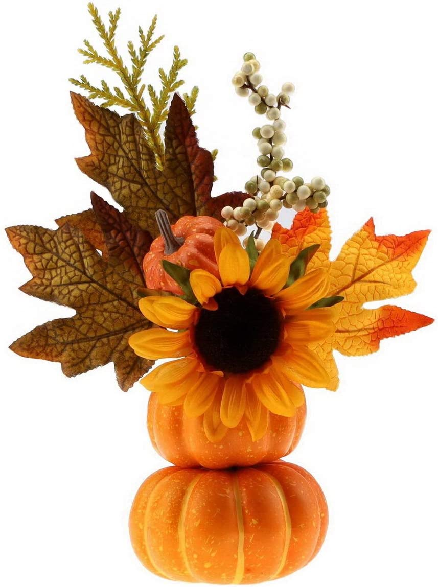 Gresorth DIY Table Halloween Decoration Artificial Pumpkins with Fake Maple Leaf and Sunflower for Home Party Christmas