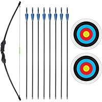 SinoArt 45 Inch Recurve Bow and Arrow Set for Teens Archery with 8 Arrows 2 Target Papers