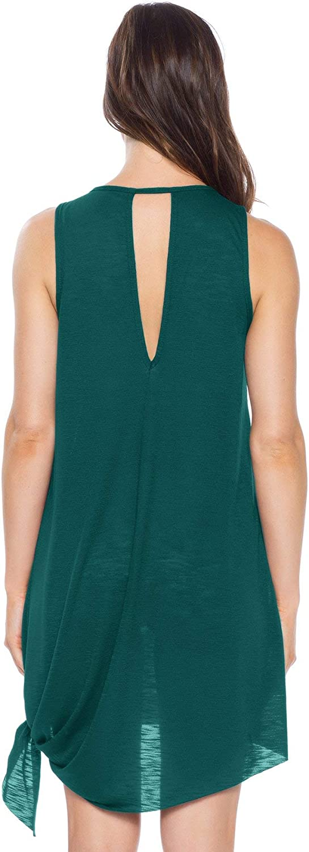 Becca by Rebecca Virtue Womens Take It Easy High Neck Tank Dress Swim Cover Up
