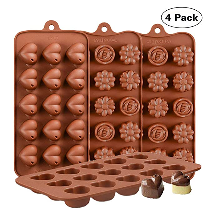 KBstore 4 Stück Silikon Schokoladenform Pralinenform - Herzform und Blumenform Silikonform für Schokoladen Herstellen - Silik