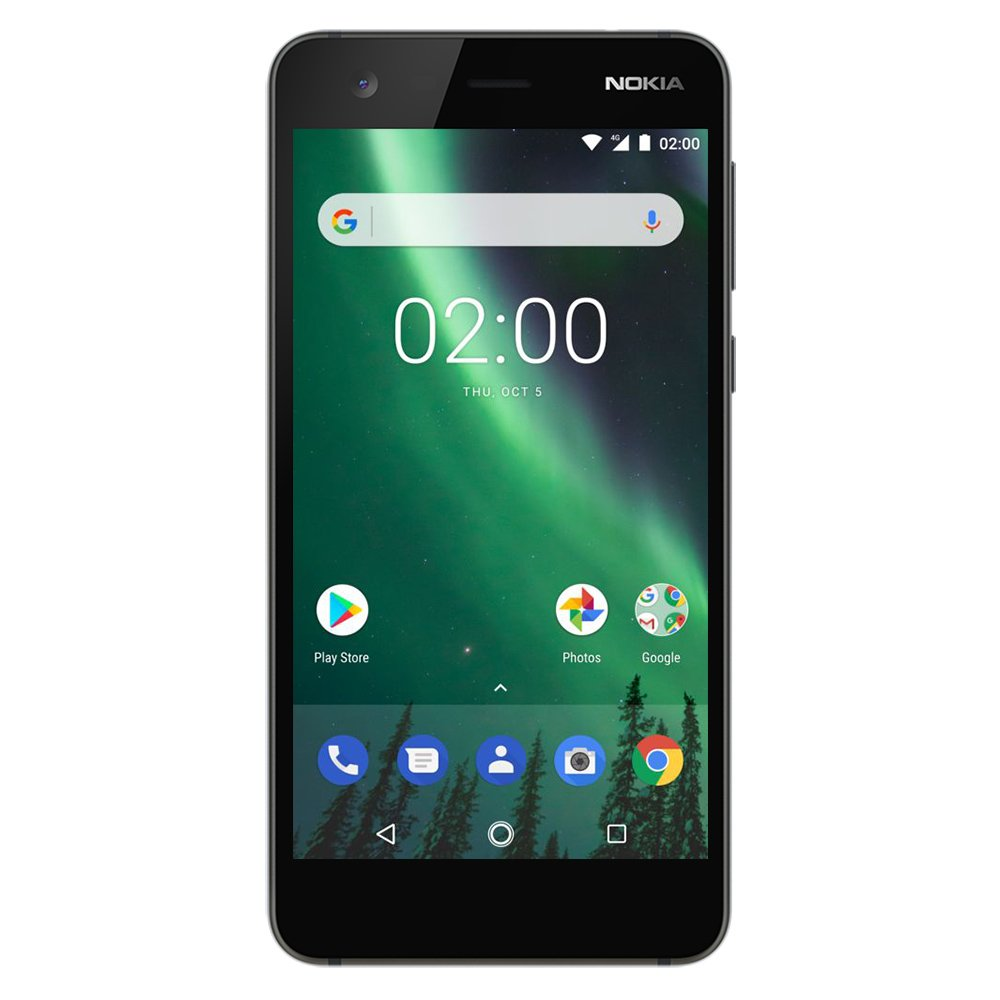"Nokia 2 - Android - 8GB - Dual SIM Unlocked Smartphone (AT&T/T-Mobile/MetroPCS/Cricket/H2O) - 5"" Screen - Black - U.S. Warranty"