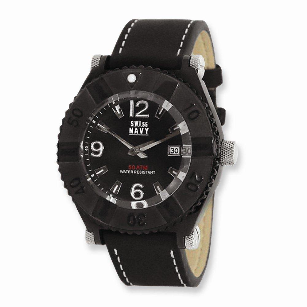 Top 10 Jewelry Gift Mens SWI55 Navy Armada IPB-plated Black Dial Watch