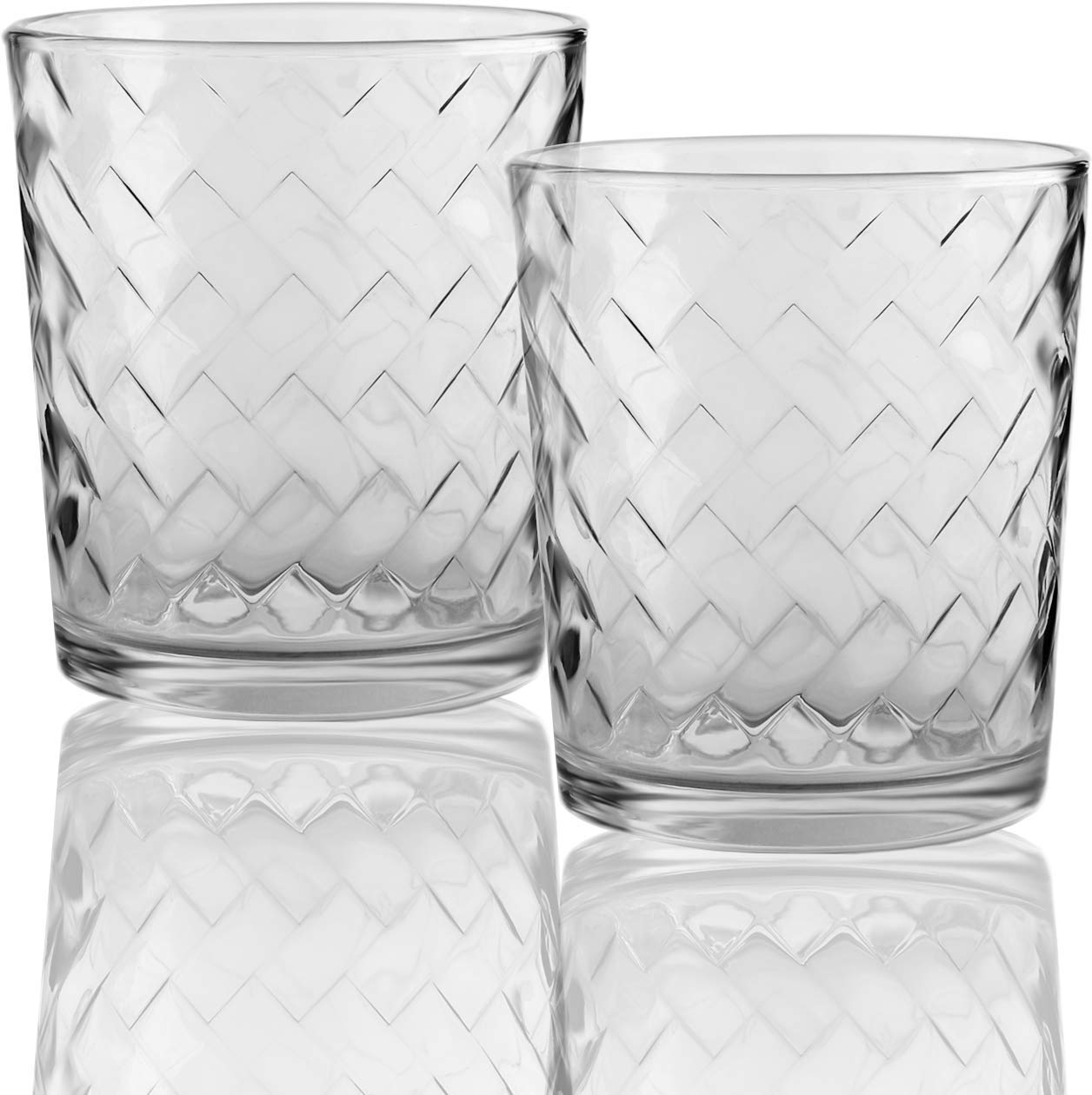 Circleware 40121 Chevron Set of 4 Whiskey Drinking Glasses Glassware for Water, Beer and Bar Liquor Dining Decor Beverage Cups Gifts, 12.5 oz,