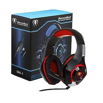 Wishshopping Auriculares de Diadema estéreo para Ordenador portátil, PC, Mac, iPad, Ordenador, Smartphones, PS4 Xbox One, Color Rojo: Amazon.es: Informática
