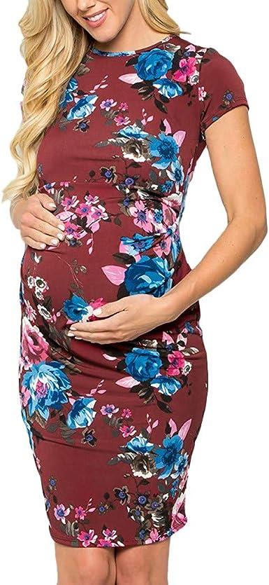 Ropa de Lactancia Floral Estampado Vestido Mujeres Maxi Embarazadas Verano Vestido de Sin Manga Faldas Largas Vestido de Maternidad