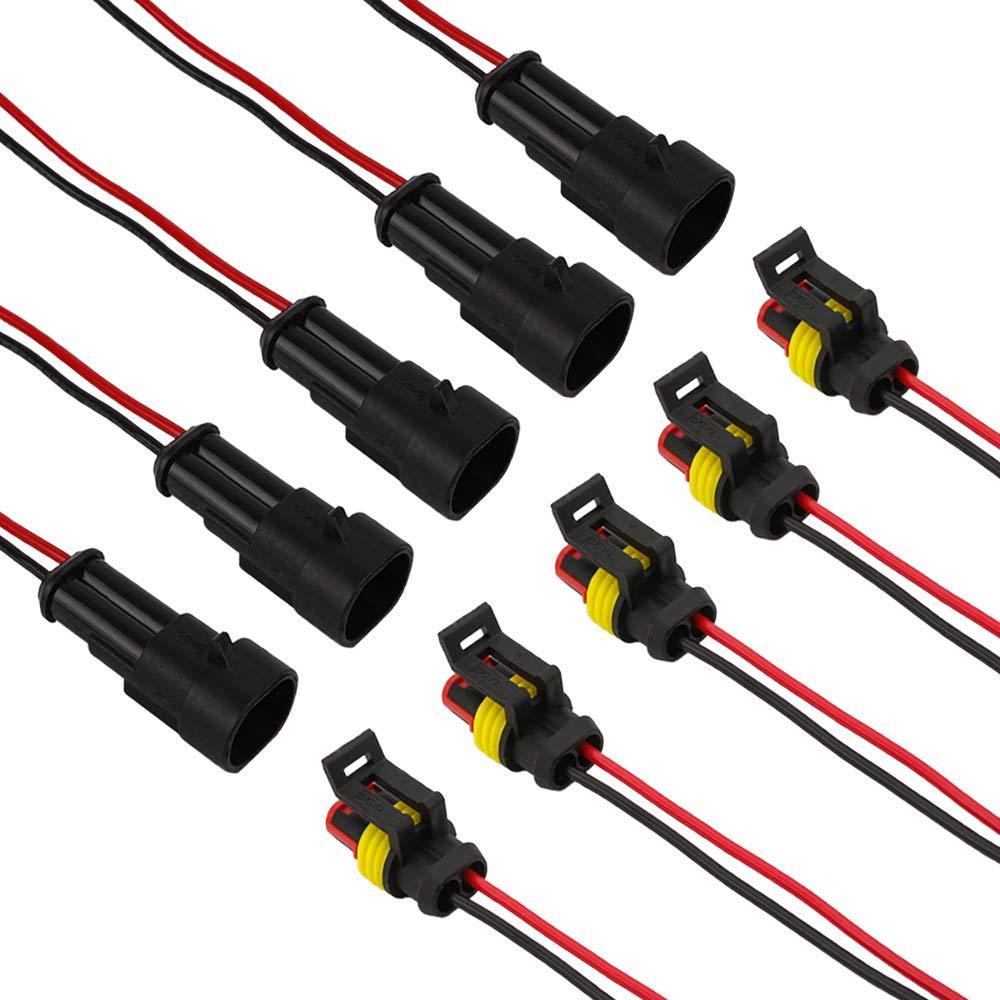 SENZEAL 5pcs Auto Kabel Steckverbinder 2 pin Stecker Wasserdicht Elektrische Schnellverbinder KFZ LKW Auto 2-polige Stecke