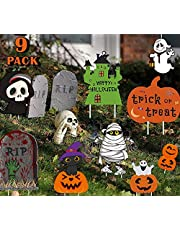 Halloween Decorations Pumpkin Themed 9 PieceFamily Friendly Yard Decoration Signs, Including 4 Pumpkins, 2 Ghost, 1 Skeleton 1 Tombstone, 1 Trick or Treat Yard Stake Signs, Lawn Halloween Props