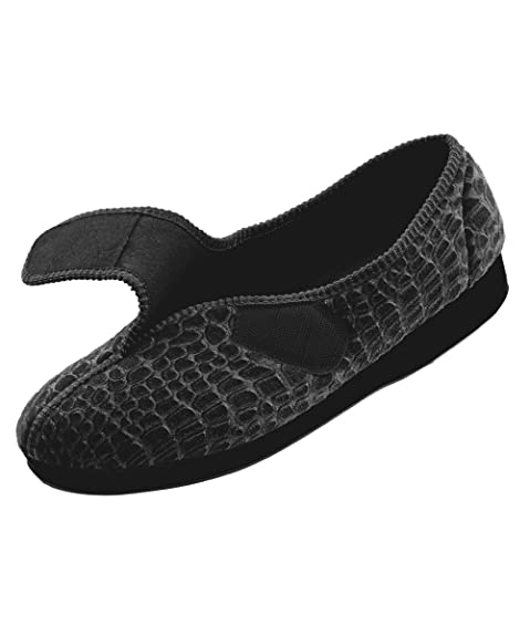 1702489f5a64 Silverts Disabled Elderly Needs Womens Comfort Slippers - Wide - Womens  House Slippers with - Black