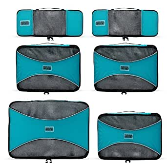 PRO Packing Cubes - 6 Set - Ultimate Travel Packing Cube System for Luggage Compression, Backpacks, Tote Bags & Weekender Bags (Aqua Blue)