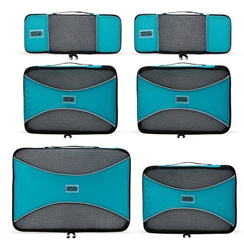 PRO Packing Cubes - 6 Set - Ultimate Travel Packing Cube System for Luggage Compression, Backpacks, Tote Bags & Weekender Bags (Aqua Blue) (Tote Ultimate)
