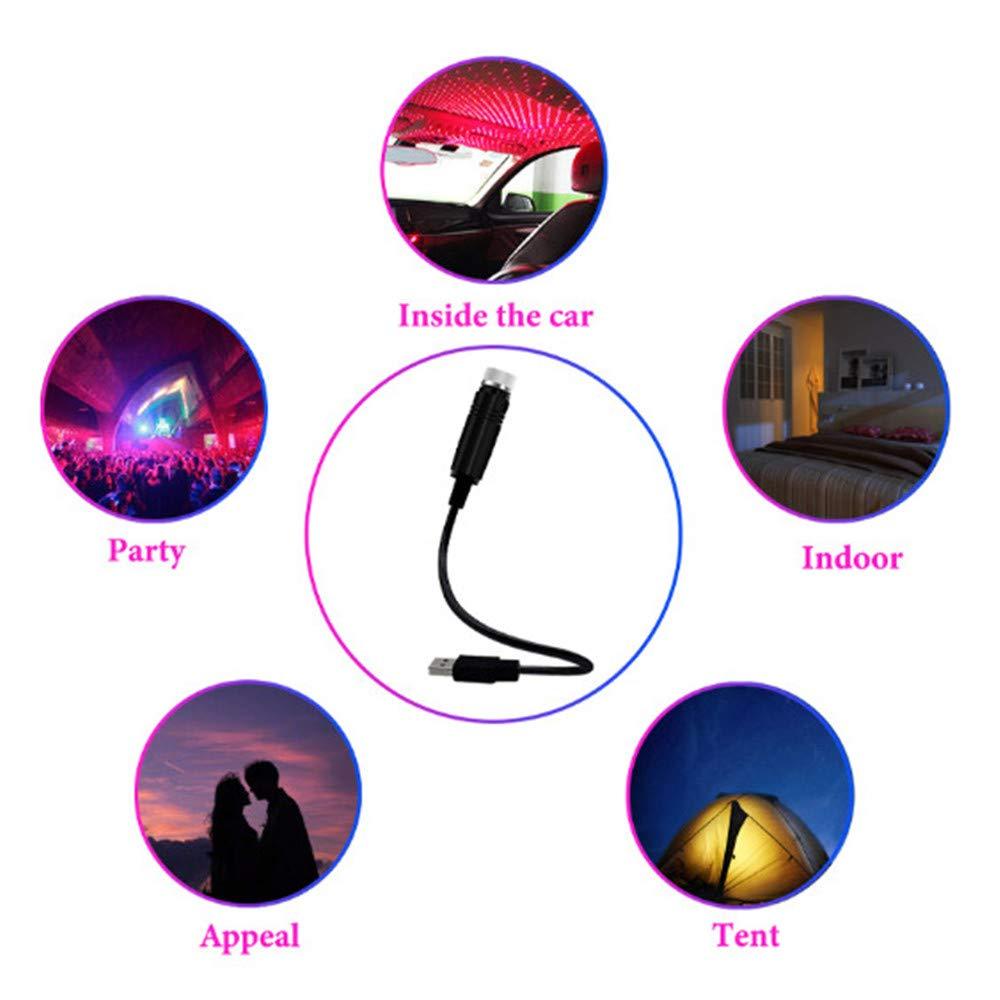 USB Auto Atmosph/äre RGB Lampe Starlight Projektionslicht f/ür Auto Home Party Blu-Ray LED Auto Dach Sterne Nachtlicht Plug and Play Auto und Haus Decke Romantische USB Nachtlicht