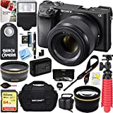 Sony a6300 Alpha 4K Mirrorless Digital Camera with 50mm f1.8 Prime Lens + 64GB Accessory Bundle + DSLR Photo Bag + Extra Battery+Wide Angle Lens+2x Telephoto Lens+Flash+Remote+Tripod