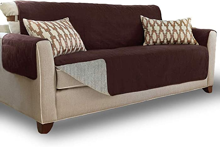 Gorilla Grip Original Slip Resistant X-Large Oversized Sofa Protector, Seat Width to 78 Inch, Patent Pending Suede-Like Furniture Slipcover, 2 Inch Straps, Couch Slip Cover for Dogs, Sofa, Brown