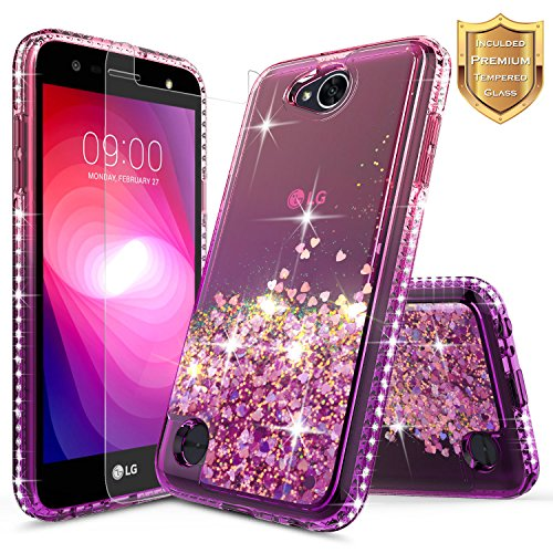 LG Fiesta 4G LTE Case, LG X Power 2 Case, LG Fiesta 2 Case with [Tempered Glass Screen Protector], NageBee Quicksand Liquid Floating Glitter Flowing Sparkle Bling Diamond Luxury Case – Pink/Purple