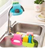 Binmer(TM) Double Sink Caddy Saddle Style Kitchen Organizer Storage Sponge Holder Rack Tool (Blue)