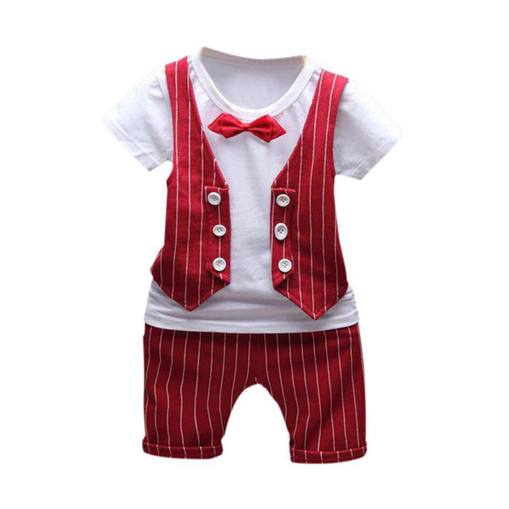JIANLANPTT Baby Boy Summer Formal Party Wedding Striped Outfit Suit Short Sleeve
