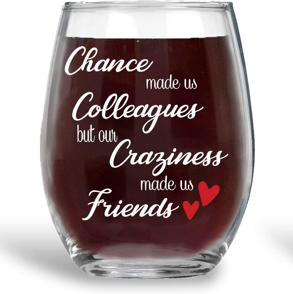 Chance Made Us Colleagues 15oz Wine Glass Unique Office Gift Idea for Coworker, Best Friend or Boss Lady - Perfect Birthday Gifts for Men or Women - Gag Gifts for Employee, Secretary - By AW Fashion