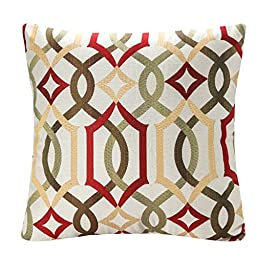 SimpleDecor Jacquard Geometric Links Accent Decorative Throw Pillow Covers Cushion Case Multicolor 18X18 Inch Red by Simple