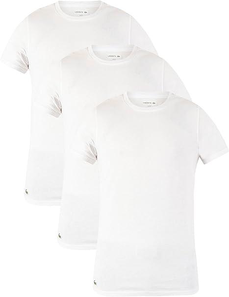 Lacoste Hombre 3 Pack Slim Fit Camisetas, Blanco, X-Large: Amazon.es: Ropa y accesorios