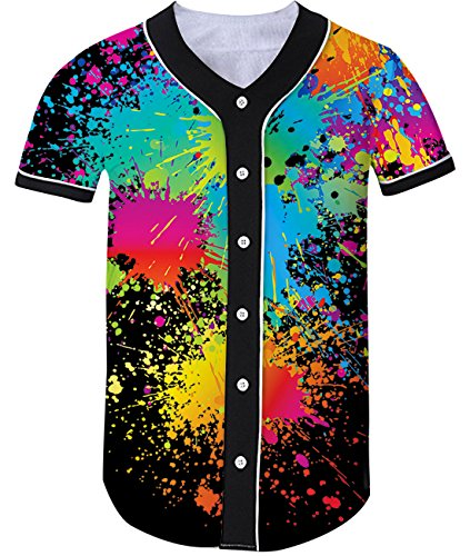 Loveternal Unisex 3D Paint Splatter Printed Arc Bottom Botton Down Short Sleeve T-Shirt Baseball Softball Team Jersey Active Tops Tee XXL