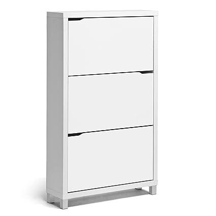 Superbe Baxton Studio Simms 3 Tier Modern Shoe Cabinet, White