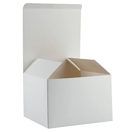 Ruspepa Recycled Cardboard Gift Boxes Gift Favor Boxes With Lids In Bulk 6 X6 X4 20 Pack White
