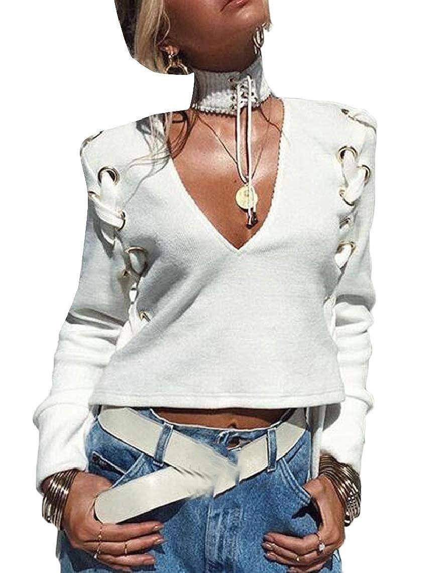 Yayu Womens Long Sleeve V-Neck Autumn Crop Sweatshirt Blouse Tops